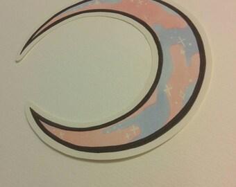 Cotton candy crescent moon sticker