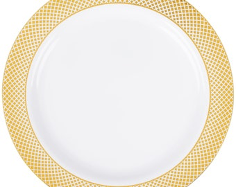 "12 PCS  10"" Gold Lattice Border Round White Plastic Plate, Wedding Supplies, Wedding, Wedding Decor, Plastic Plates, Party Supplies"