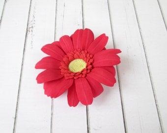 Gerbera Hairpin - Red and Orange-peach - Flowers hair pin - Flowers hair accessories - Foam handmade flowers - Flowers hair decoration