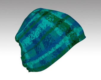 Plaid, Green and Blue Slouchy Beanie Cap, Warm Slouchy Cap, Beanies, Adult and Kids Beanies, Winter Hats, Winter Caps