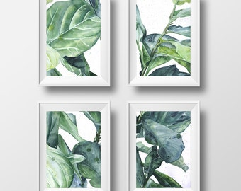set of 4 prints, tropical art, botanical illustration - 3 sizes available Giclee print
