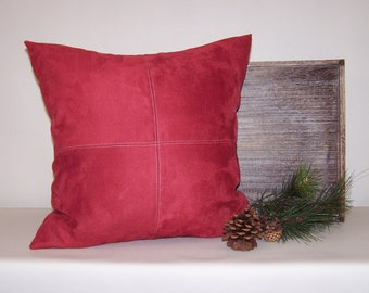 Red Micro-Suede Pillow Cover with Topstitching 18x18