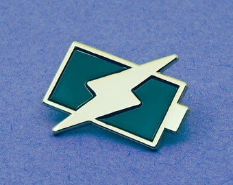 Battery Charging Icon Pin Badge | Enamel Pin Badge | Soft Enamel Badge | Phone Charging Icon Fun Gift Pin Lapel Badge