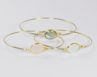 Chalcedony, labradorite or rose quartz and silver Bangle Bracelet gold plated