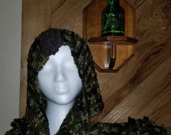 Handmade Crochet Hooded Scarf with curly fringe!