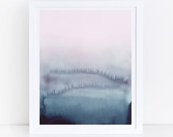 Pink Blue Abstract Art, Pink Blue Prints, Watercolor Printable Art, Modern Wall Art, Abstract Printable Art, Watercolor Print, Wall Print