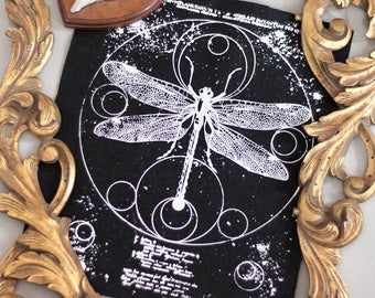 hand printed backpatch Dragonfly occult geometric