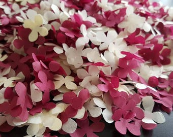 Burgundy and Ivory Hydrangea flowers Biodegradable tissue paper confetti.Throwing and table decor Wedding Birthday and more decoration