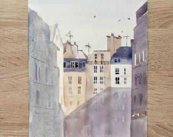 Original watercolor painting Paris France rooftops