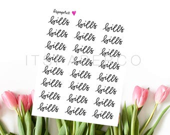 Bills Stickers - Bullet Journal Stickers - Planner Stickers - Functional Stickers - Text Stickers