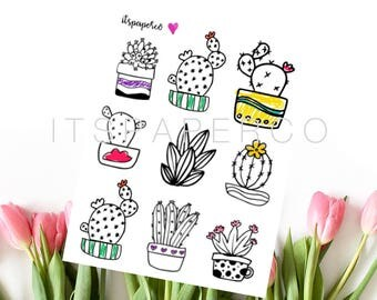 Cactus Doodles - Bullet Journal Stickers - Planner Stickers - Decorative Stickers - WC004