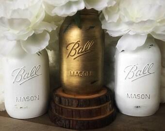Mason Jar Decor, Rustic Wedding Decor, White and Gold Mason Jars, Mason Jar Shower Decor, Mason Jar Farmhouse Decor, Mason Jar Set, Mason