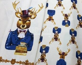 kokka Oxford elegant reindeer animal fabric - 60cm