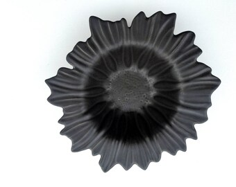 black mat ceramic flower, ceramic plate, handmade plate, unique ceramic handmade, asymmetrical, unique, for her and for him