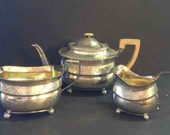 Peter & Wm Bateman Three Pc. Sterling Silver Tea Set   London 1809
