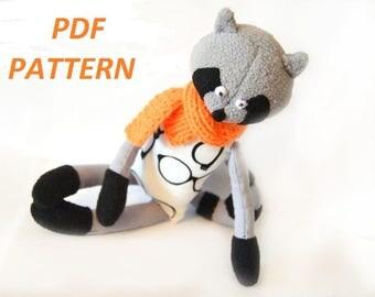 Sewing Pattern raccoon PDF Stuffed Toy Plush Toy Animal Sewing Pattern pdf raccoon baby