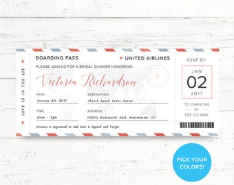 Travel Ticket Bridal Shower or Baby Shower Printable Invitation, Airplane Ticket, Custom Printable Invite