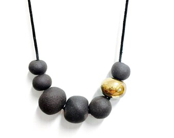 Black Gold Ceramic Necklace, porcelain jewelry, minimal modern jewelry, contemporary jewellery, Ceramic Simple Necklace, Geometric  jewelry