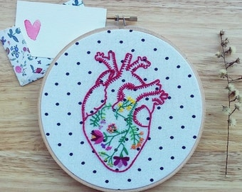 Anatomical heart with flowers hand embroidery hoop art wall hanging