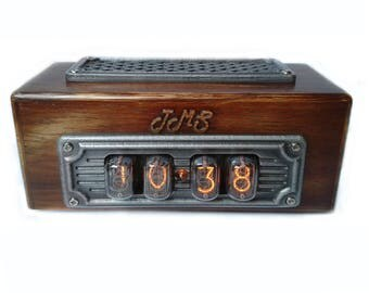 Nixie Tube Clock IN-12, Wooden Nixie Clock With 4 Digits, Nixie Clock in Wooden Case