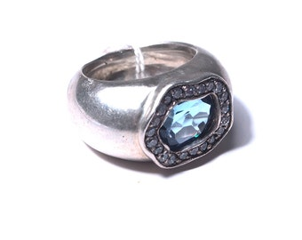 Silver ring, Blue Topaz and Crystal