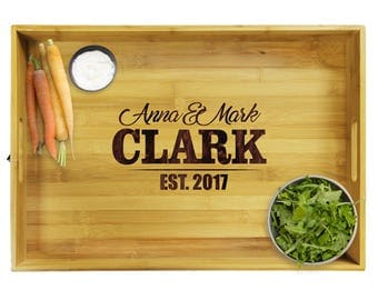 Personalized Wood Serving Tray, Serving Tray with Handles, Wood Serving Tray, Custom Serving Tray, Engraved Serving Tray, Premium Wood Tray
