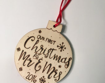 Newlywed Christmas ornament.
