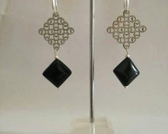Rosette, Black Onyx earrings.