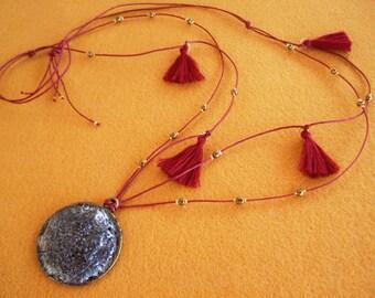 Black Volcanic Lava Pendant Bronze Beads Red  Cotton Tassel Cotton Cord Greek Island Santorini Jewelry Necklace Gift - Hφαιστος