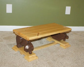 Handcrafted Bear Step Stool