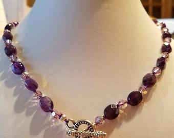Necklace amethyst and Swarovski Crystal