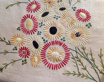 Vintage hand embroidered linen cushion cover c 1940