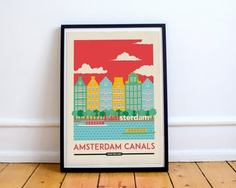 Amsterdam Digital Download Print - Amsterdam Skyline, Wall Art Prints, Wall Home Decor | Travel Poster