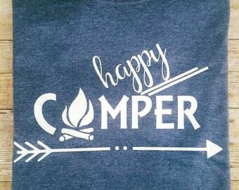 Happy camper tshirt - Camping shirt - happy shirt - Camp fire shirt - Camping squad - Camping crew - Campfire - Campout - Camping group