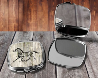 Horse Sketch Compact mirror, Make up mirror, Pocket mirror, Hand Mirror, Purse Mirror, Birthday gift, Gift for her