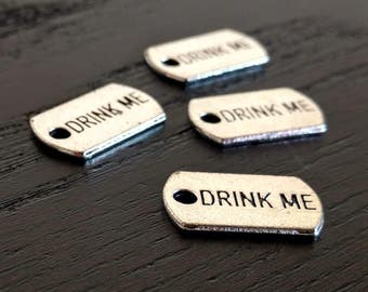 4 Silver Drink Me Tags | Word Charms | Engraved Drink Me Tag | DIY Jewelry Supplies | Ready to Ship from the US | AS132-4