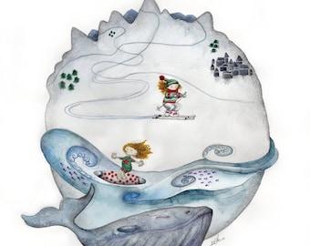 print, planet, surf, ski, mountain, snow, wave, whale, blue, planet, mountain, whale, waves, snow, decoration, decoration, children