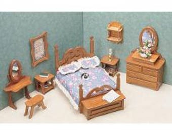 """Unfinished Dollhouse Furniture Kit-Bedroom-Scale 1""""=1'--Make into any Decor Style"""