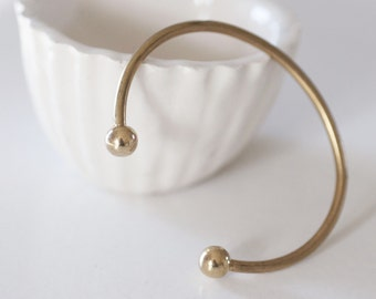 Raw brass adjustable cuff Bracelet ring finish balls