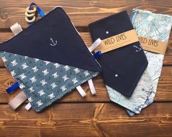 Nautical Baby Boy Crinkle Taggie and Bandana Baby Shower Gift Set