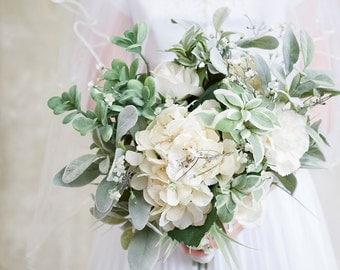 Silk Flower Green White Wedding Bouquet, Mint Bouquet, Spring Bouquet, Green Wedding, Natural Bouquet, Wedding Flowers, Succulent Bouquet