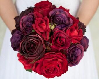 Red Wine Wedding Bouquet, Bridal Bouquet, Rose Peony Silk Bridal Bouquet, Red Purple Burgundy Bouquet, Wedding Flowers, Wedding Flowers
