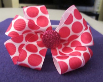 Hot Pink polka-dots bow head band