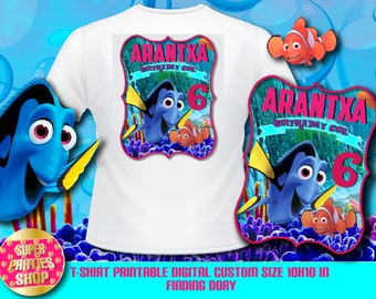 Finding dory  Digital  Printable t-shirt , Custom Party,Finding dory  ,Birthday,Party, Supply, Kit, Pack, Custom, Finding Nemo