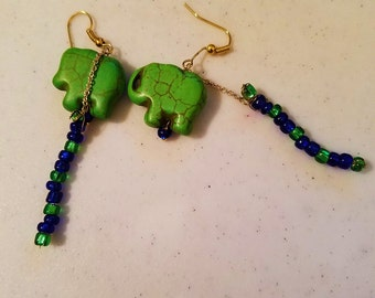 Green Elephant Earrings with Blue Accents