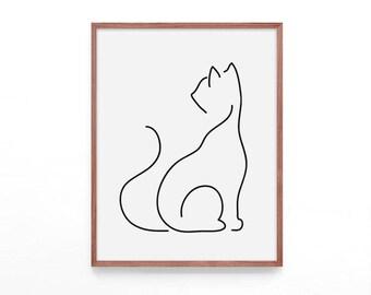 Cat Print, Minimalist Poster, Minimalist Art, Minimalist Printable Art Poster, Line Art, Lines Art, Scandinavian modern Print, Cat Poster