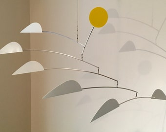 MOBILE Kinetic, Mid-Century Modern Mobile,  Hanging Mobile Art Sculpture,  Aluminum Mobile -  SeaBIRDS
