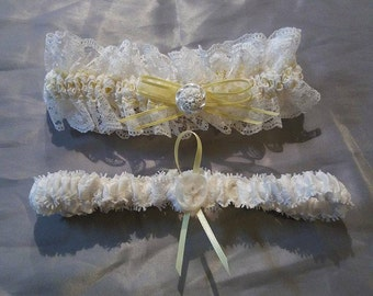 White and Yellow Lace Garter Set