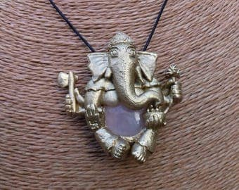 Made to order: Polymer clay Ganesh pendant with Rose quartz