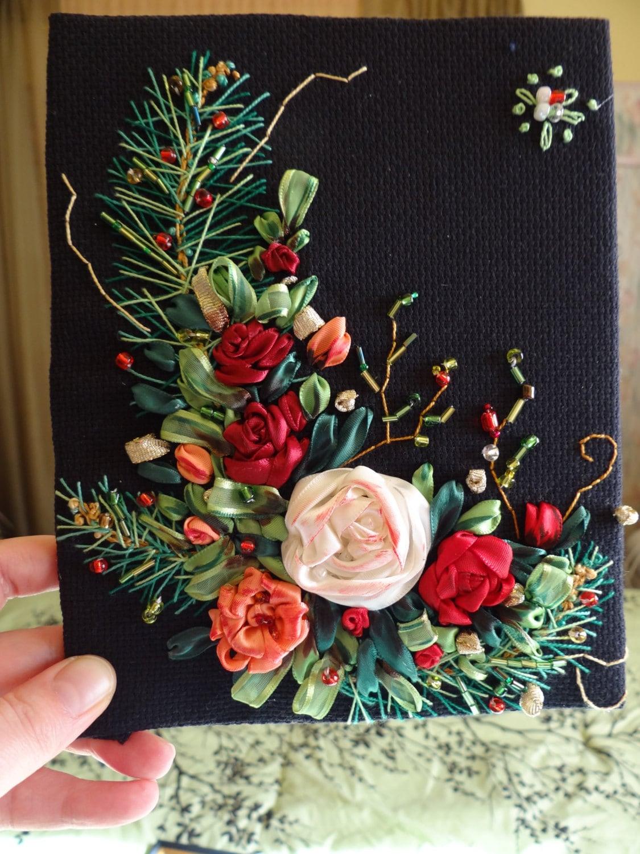 Christmas ribbon embroidery by handmadeoriginalsart on etsy